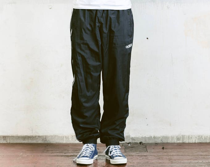 Adidas Shell Pants . Vintage Black Sports Pants Mens Track Pants Hip Hop Style Sports Trousers 90s Training Pants Streetwear . size Large L