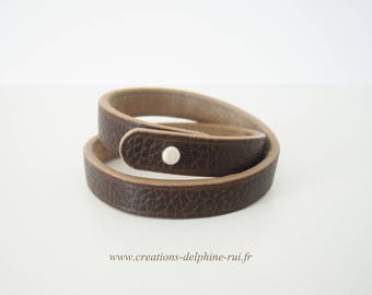 Chocolate and beige leather double strap pink
