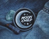 "Moon Child Patch - Metaphysical Fashion Accessory - 2"" Iron On Embroidered Patch - Black, Grey, White"
