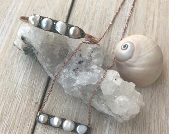 Pearl Jewelry, June birthstone set, Gemini jewelry, Pearl bar necklace, Pearl bracelet, wedding jewelry set, bridal jewelry, natural pearls