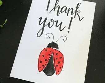 Thank you gift card watercolour hand painted lady beetle