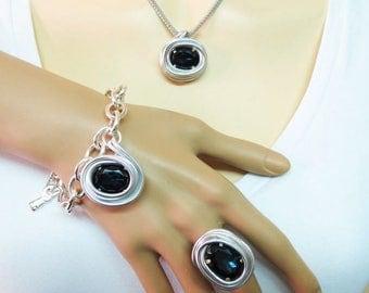 Dark Blue Jewelry, Dark Blue Set, Rhinestone Jewelry Set, Blue Bridesmaid Set, Silver Jewelry Set, Bridesmaid Gift, Jewelry Gift, Blue Set,