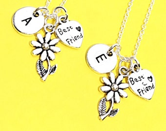 Flower Necklace with Initial Charm, Best friend Necklace 2,Fox Jewelry Necklace, Flower Charm Necklace, Silver Fox Charm, BFF matching gift