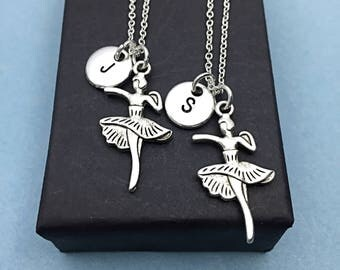Matching Set of 2  Dancer charm necklaces, dancing charm, dance charm,dance jewelry,dance gift, personalized initial, Dance, her dance gift