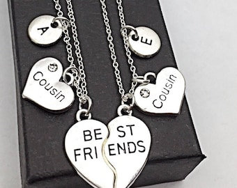 SALE,Cousin necklace set of 2, best friend necklaces for 2, friendship jewelry, distance friends, 2 bff necklaces, gift for best friend, cou