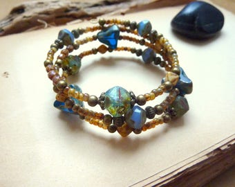 Retro bracelet blue and ocher, Czech beads and seed beads.