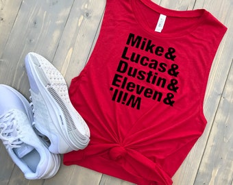 Stranger Things Women's Muscle Tank // Mike Lucas Dustin Eleven Will // Gym Tank // Squad Goals // Best Friend Tee