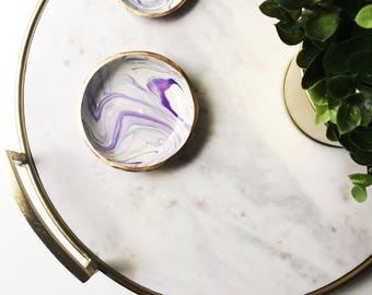 ULTRAVIOLET MARBLE // Pantone Color of the Year 2018, polymer clay ring dish, trinket dish, jewelry tray, ring holder