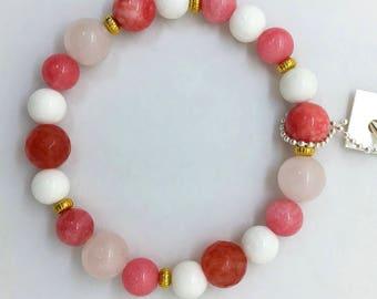 Rose Quartz Bracelet with Pink and White Jade, Valentines Day Gift, Boho Gemstone Bracelet, Gift for her, Genuine, Colorful, Stretch, Gold