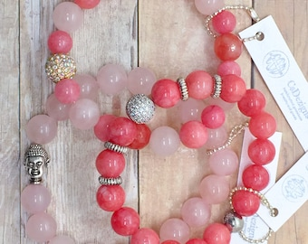 Pink Jade and Silver Micro Pave CZ Stretch Bracelet, Bright Pink Valentines Day Gift for Her, AAA Pave CZ Bead Bracelet, Healing Jewelry