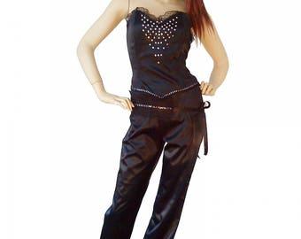 Fancy pants high waist, straight cut, black stretch satin