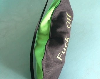 Eye Pillow Sleep Mask Flax Seed Cold Pack With Elastic Strap Green Black Embroidered F Off Im Sleeping