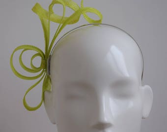 Lime Green Fascinator - Lime Green Headpiece - Light Green Fascinator - Lime Headpiece - Simple Modern Fascinator - Yellow Green Fascinator