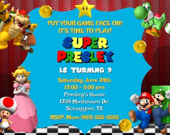 Super Mario Party Invitations (Digital File)