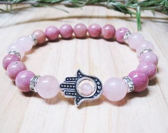 Hamsa Bracelet Rose Quartz Bracelet Rhodonite Bracelet Heart Chakra Bracelet Fertility Bracelet Pregnancy Bracelet Calming Bracelet