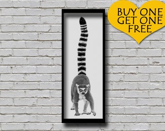 Cross Stitch Pattern Ring Tailed Lemur Animal Portrait Printable Pattern Modern Decor Woodland Animal Xstitch Pattern Wall Art Diy