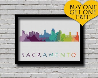 Cross Stitch Pattern Sacramento California City Silhouette Watercolor Effect Decor Embroidery Modern Ornament USA City Skyline Xstitch