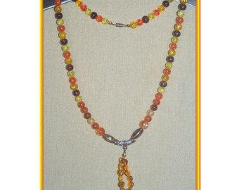 Pendant and crystallisees orange/yellow acrylic beaded necklace