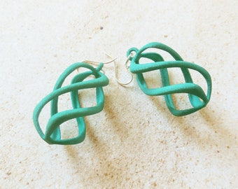 Twisty - Turquoise  3D Printed Earrings | 3D Printed Jewelry