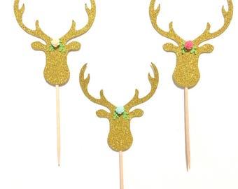 10 or 12 pcs flower roses deer head antler bohemian tribal native Gold Glitter Cupcake dessert Topper Birthday Baby wedding Shower christmas