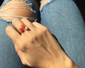 3 rings in gold plated or silver - Pearl yellow, orange and Fuchsia