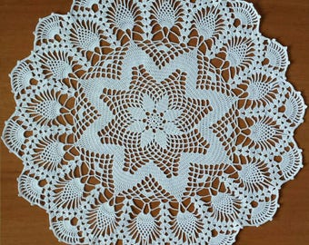 "New white 11.8"" handmade crochet doily / Lace doily / Table center decoration"