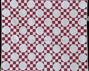 Snowball Antique Quilt in Cranberry Red with White