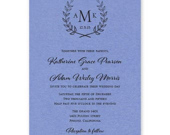 Laurel Monogram Wedding Invite - Rustic Wedding Invitation Set - Cottage Chic Wedding Invitation Suite - Custom Wedding Invitation - AV6462