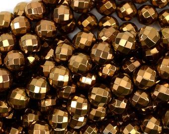"""12mm faceted copper hematite round beads 15.5"""" strand 38958"""