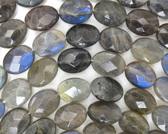 "16mm faceted grey labradorite flat oval beads 15.5"" strand 38542"