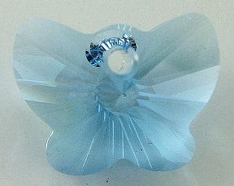 18mm Swarovski crystal butterfly pendant 6754 aquamarine 2704