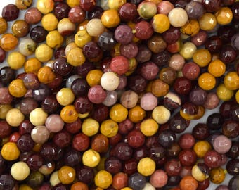 """4mm faceted mookaite round beads 15.5"""" strand mookite 39579"""