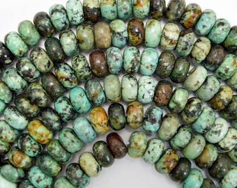 "8mm african turquoise rondelle beads 15.5"" strand 38037"