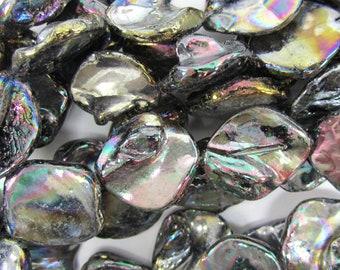 "15-20mm shell diamond shape beads 15"" strand rainbow 34844"