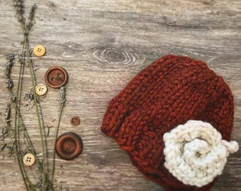 Knitted Flower Hat: Toddler