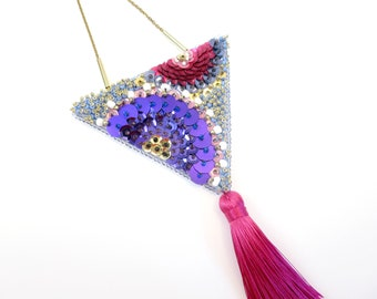 Large Triangle MAYAHUEL pendant necklace / MAGUEY purple & pink