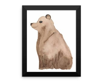Framed Sitting Bear Print