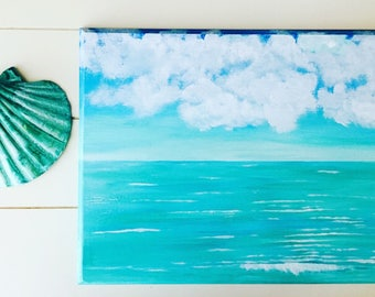 Original Acrylic Painting, Original Landscape Painting, Wood Plaque, Seascape, Wall hanging, Painted wall plaque, Wall Art, Realism painting