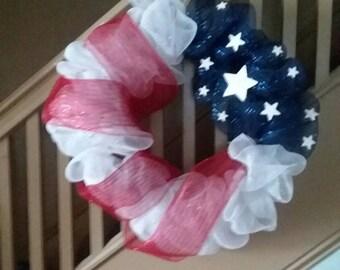 Handmade American Flag Mesh Wreath
