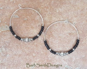 "Beaded Black and Light Silver Hoop Earrings, Large 1 3/8"" Diameter"