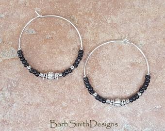 """Beaded Black and Light Silver Hoop Earrings, Large 1 3/8"""" Diameter"""