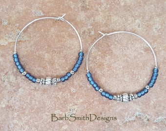 "Beaded Denim Blue and Silver Hoop Earrings, Large 1 3/8"" Diameter"