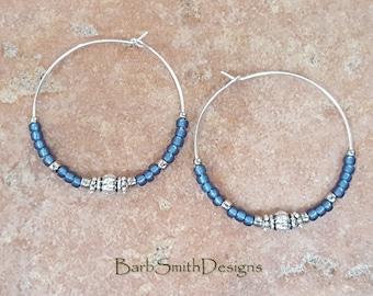 """Beaded Denim Blue and Silver Hoop Earrings, Large 1 3/8"""" Diameter"""