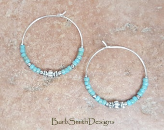 "Beaded Turquoise (Blue) and Silver Hoop Earrings, Large 1 3/8"" Diameter in Picasso Turquoise Blue"