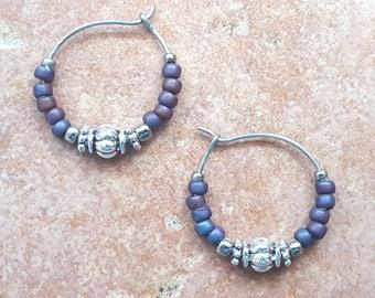 """Beaded Purple and Silver Stainless Steel Hoop Earrings, Small 3/4"""" Diameter in Deep Iris"""