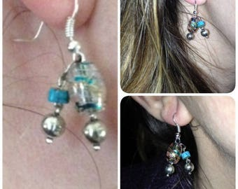 Earrings Pearl and turquoise
