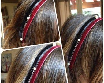 Headband velvet and pearls
