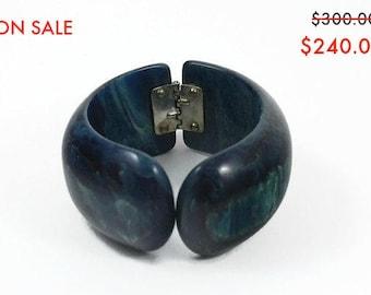 ON SALE - Vintage  Chunky Bakelite Bracelet -  Blue Moon Clamper - Bakelite Bangles - 20% OFF