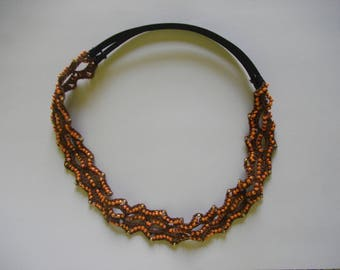 Headband in Brown cotton with orange beads
