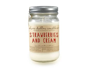 Strawberry Cream Candle,16oz Soy Wax Candle, girlfriend gift, mason jar, Fruit scents, Candle, gift for women, wife gift, boyfriend gift